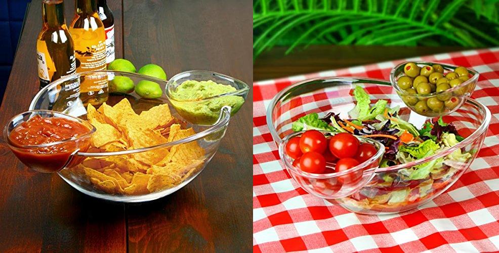 Chip und Dip Schale mit intergrierten Dip-Schälchen