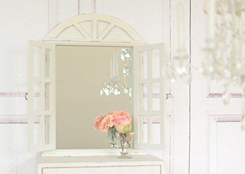 Landhaus Wandspiegel mit Fensterläden in Shabby Chic weiss antique