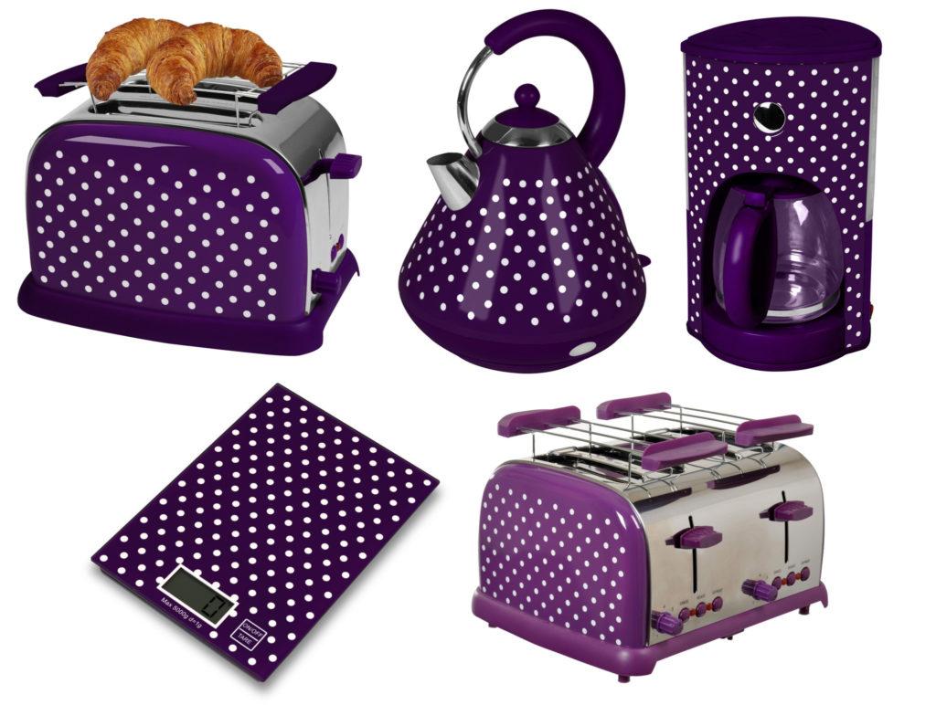 Retro Küchengeräte lila mit weißen Polka Dots